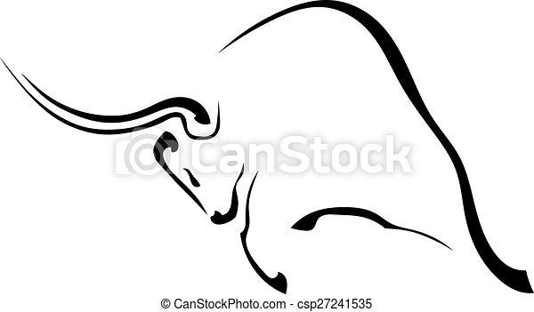 profilo, silhouette, isolato, wh, nero, toro, aggressivo - csp27241535