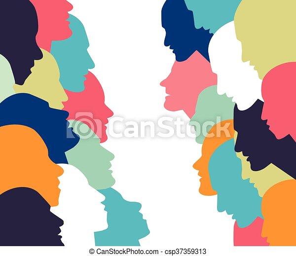 profilo, testa, discussion., persone, concept., parlare - csp37359313