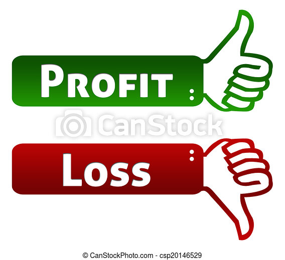 profit and loss thumb up down words profit and loss on green red