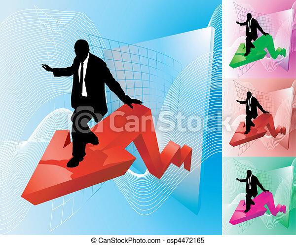 profit, concept, illustration affaires, surfeur - csp4472165