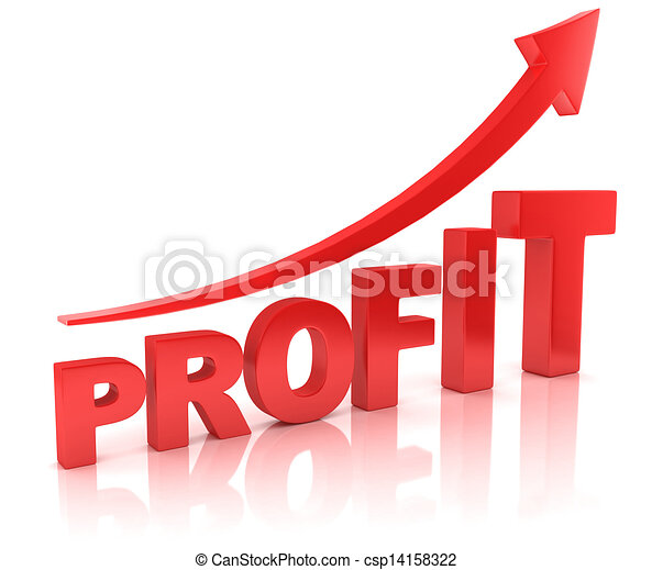 profit graph with arrow - csp14158322