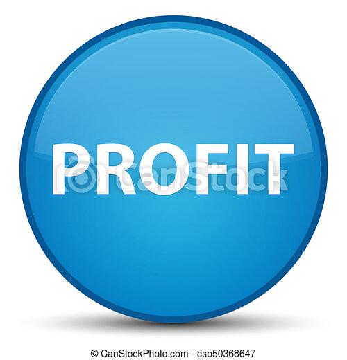 Profit special cyan blue round button - csp50368647