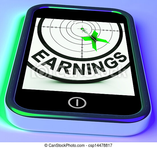 profitable, projection, smartphone, gagner, incomes - csp14478817