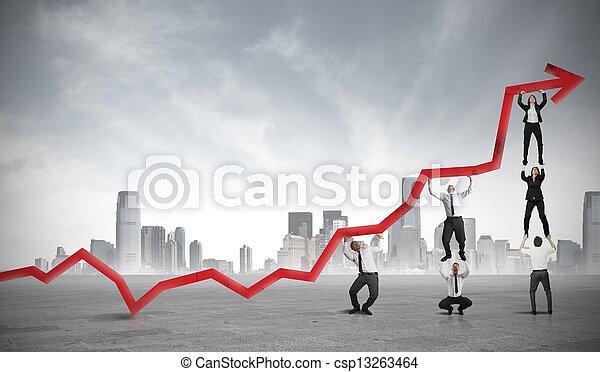 profitto, lavoro squadra, corporativo - csp13263464