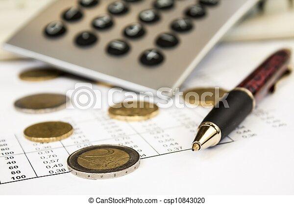 profundidade, calculadora, campo, caneta, dinheiro - csp10843020