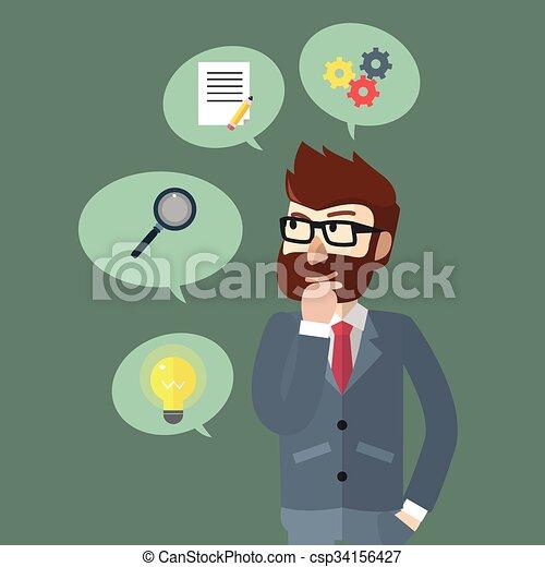 progetti, uomo affari - csp34156427