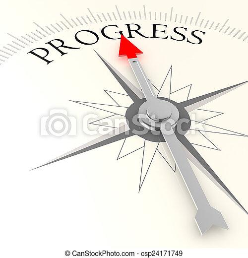 progrès, mot, compas - csp24171749