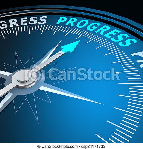 progrès, mot, compas - csp24171733
