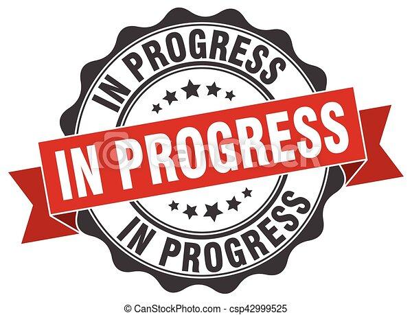 progrès, signe., cachet, stamp. - csp42999525