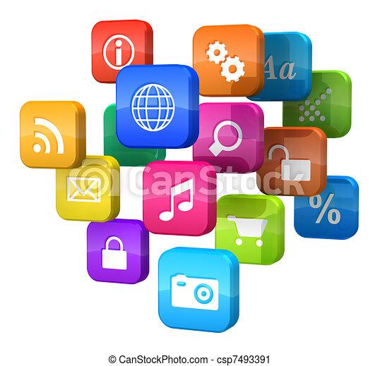 programme logiciel, nuage, concept:, icônes - csp7493391