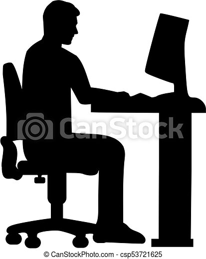 programmer sitting on a computer silhouette vector illustration rh canstockphoto com Computer Monitor Clip Art Desktop Computer Clip Art