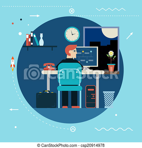 Programming And Web Development Concept Symbol Programmer Works At Work  Desk Home Icon On Stylish