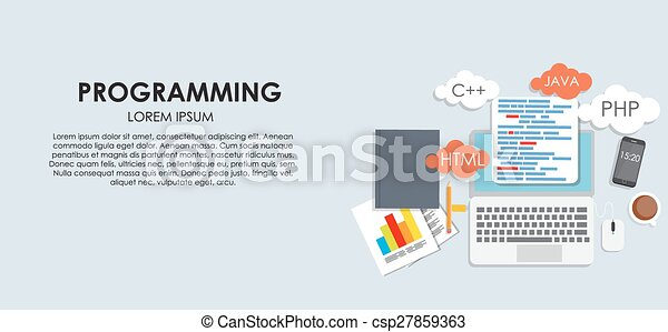 Programming Coding Concept Flat Background Vector Illustration - csp27859363