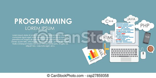 Programming Coding Concept Flat Background Vector Illustration - csp27859358