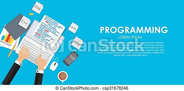 Programming Coding Concept Flat Background Vector Illustration - csp31678246