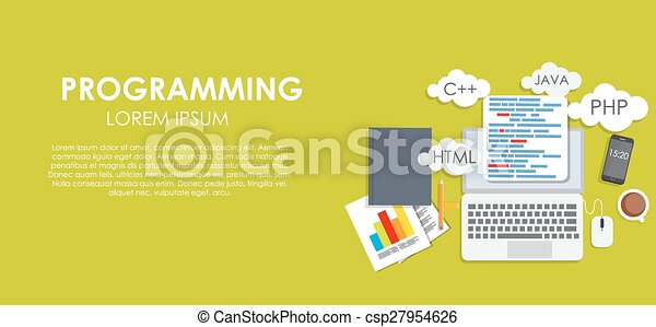 Programming Coding Concept Flat Background Vector Illustration - csp27954626