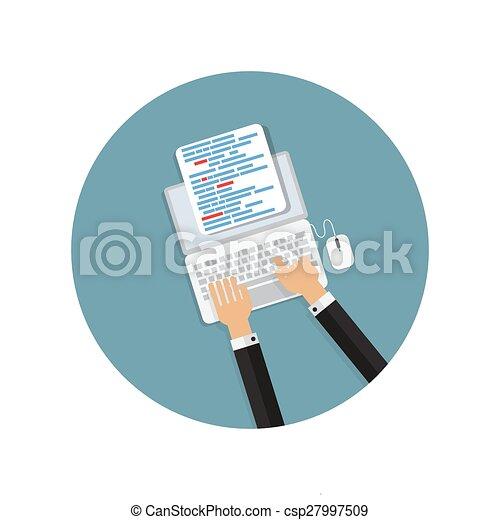 Programming Coding Concept Flat Background Vector Illustration - csp27997509