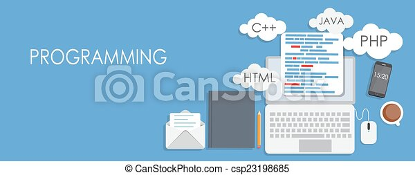 Programming Coding Flat Concept Vector Illustration - csp23198685