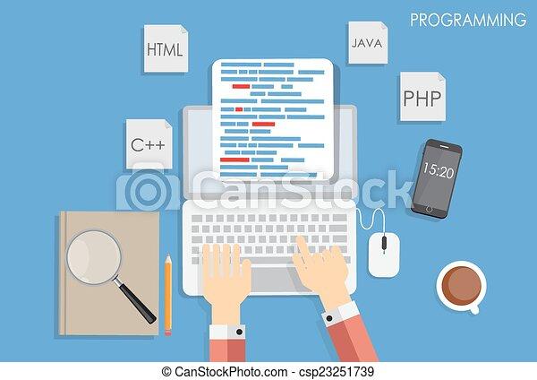 Programming Coding Flat Concept Vector Illustration - csp23251739