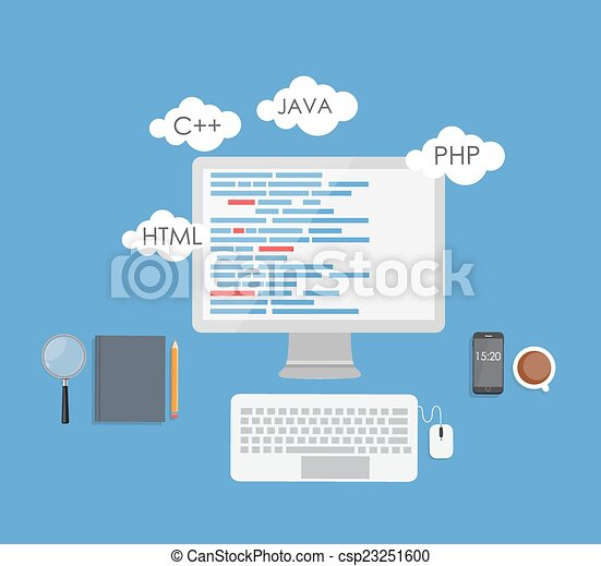 Programming Coding Flat Concept Vector Illustration - csp23251600