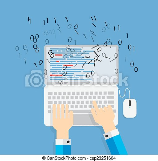 Programming Coding Flat Concept Vector Illustration - csp23251604