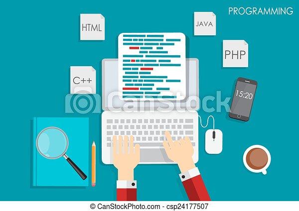 Programming Coding Flat Concept Vector Illustration - csp24177507