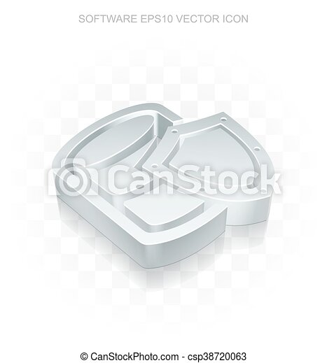 Programming icon: Flat metallic 3d Database With Shield, transparent  shadow, EPS 10 vector