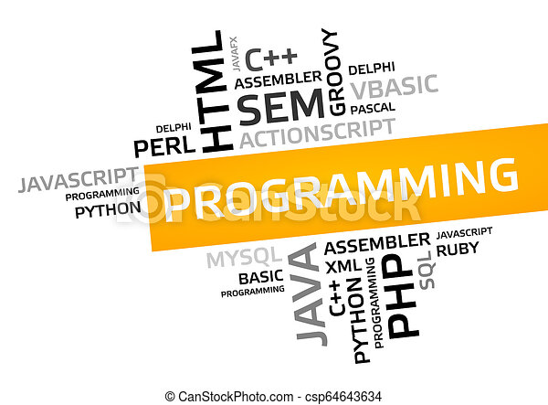 PROGRAMMING word cloud, tag cloud, vector graphic
