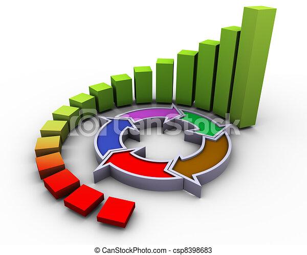 3d gráfico de flujo de progreso - csp8398683