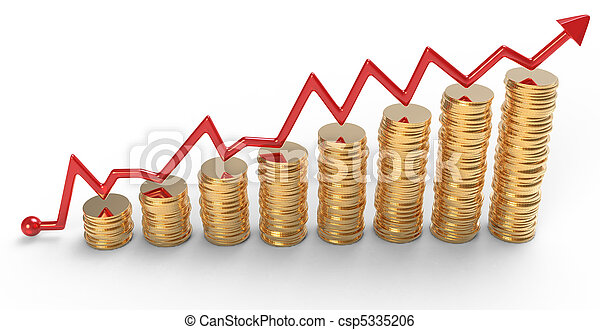 progress:, 황금, 그래프, 위의, 은 화폐로 주조한다, 더미, 빨강 - csp5335206