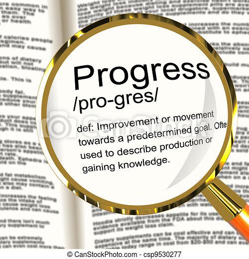 Progress Definition Magnifier Shows Achievement Growth And Development - csp9530277