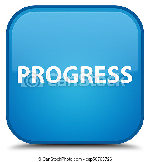 Progress special cyan blue square button - csp50765726