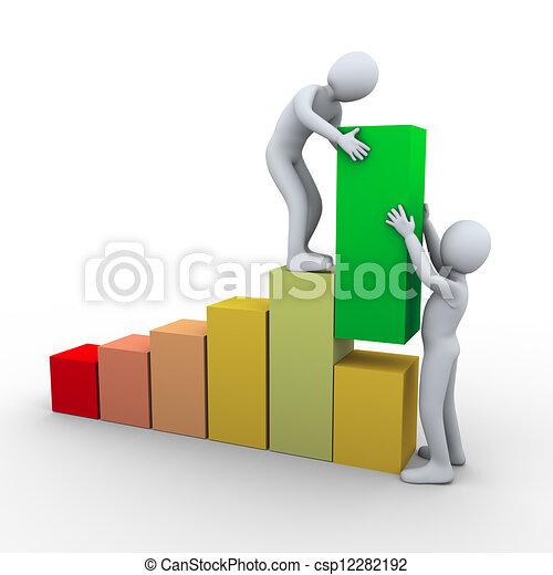 progresso, persone, barre, lavoro squadra, 3d - csp12282192