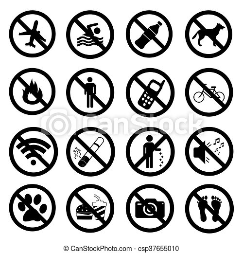 Pon símbolos prohibidos de prohibición - csp37655010