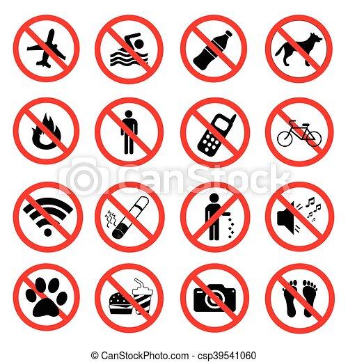 Pon símbolos prohibidos de prohibición - csp39541060