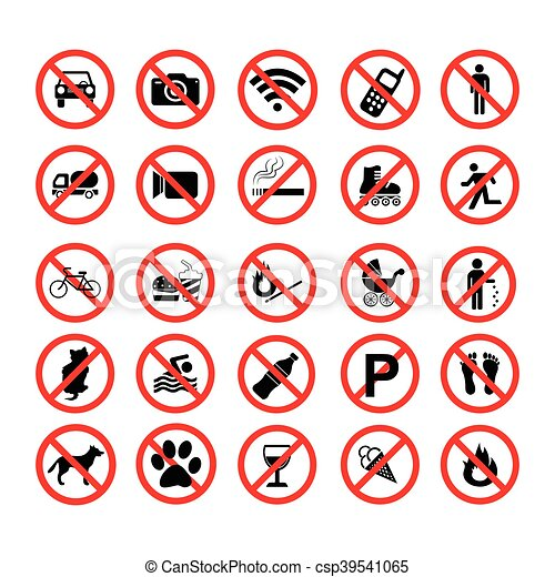 Pon símbolos prohibidos de prohibición - csp39541065