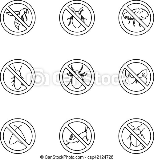 Prohibited insects icons set, outline style - csp42124728