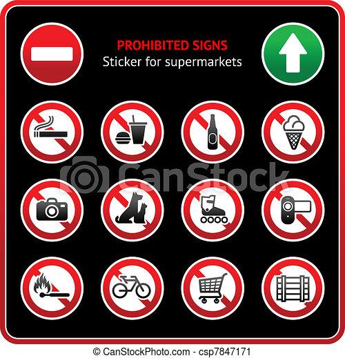 Prohibited Signs. Sticker - csp7847171