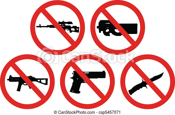 prohibited weapons signs - csp5457071