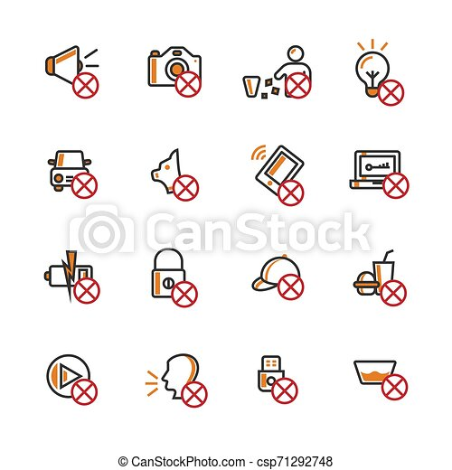 Prohibition filled outline icon set. - csp71292748