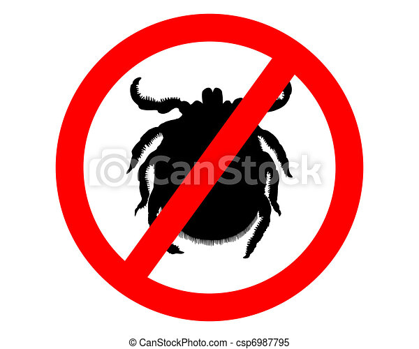 Prohibition sign for  ticks on white background - csp6987795
