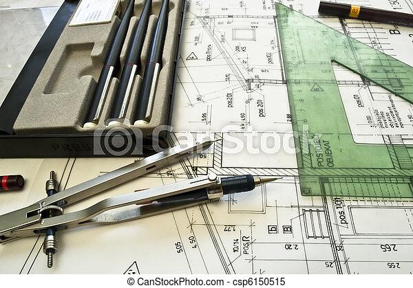 projec, architecturaal, plan, technisch - csp6150515