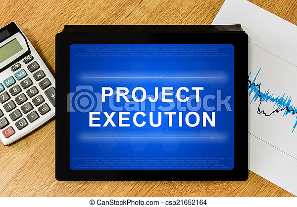 project execution word on digital tablet - csp21652164