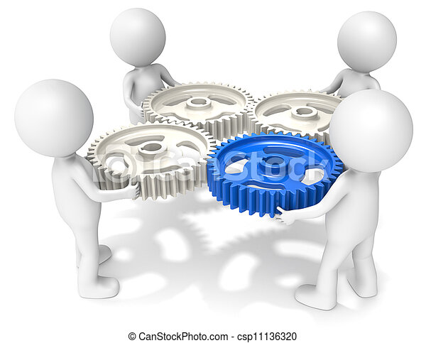 project management 3d little human character x4 holding cog clip rh canstockphoto com project management office clipart project management clipart free