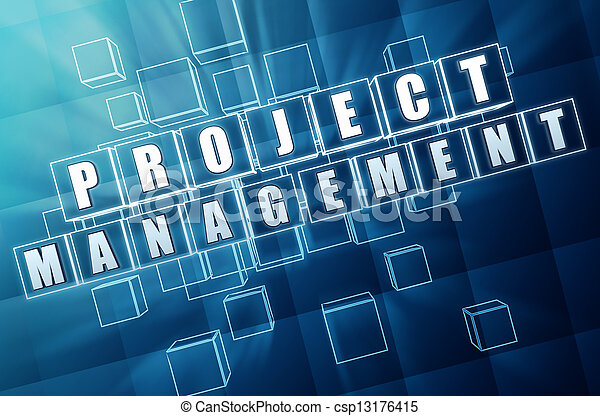 project management in blue glass cubes - csp13176415
