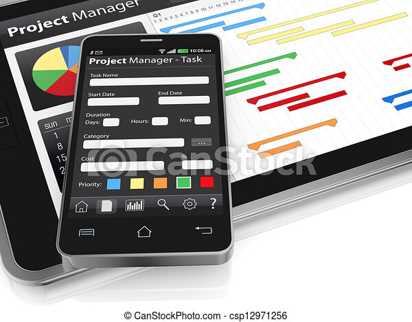 Project management one tablet pc and a cellphone with project project management csp12971256 ccuart Gallery