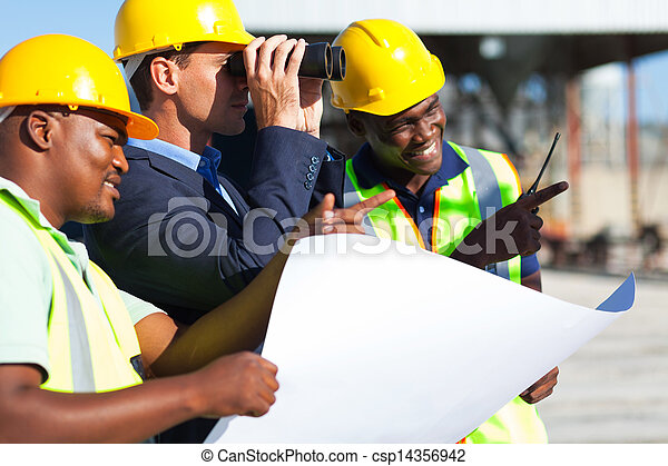 project manager looking at the construction site - csp14356942