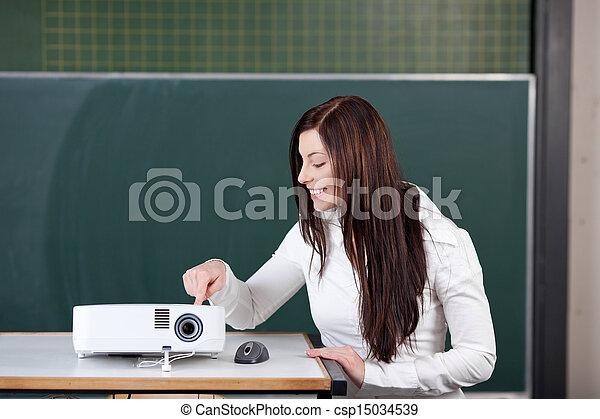 projecteur, contre, toucher, tableau, étudiant, curieux - csp15034539
