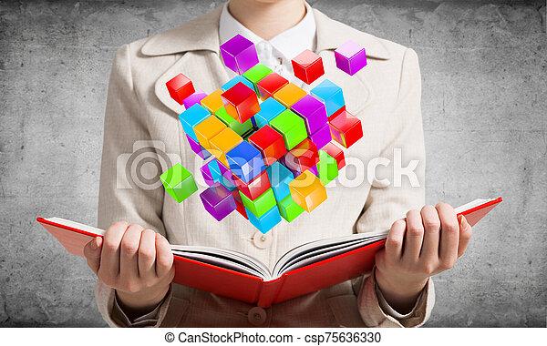 projection, 3d, coloré, géométrique, femme, cubes - csp75636330