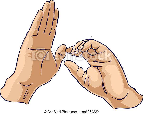 projection, mains, traction, geste, une - csp6989222